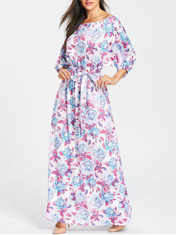 Store Batwing Sleeve Floral Print Belted Maxi Dress