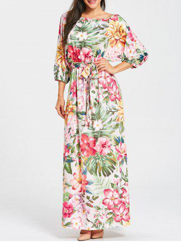 Hot Batwing Sleeve Floral Print Belted Maxi Dress