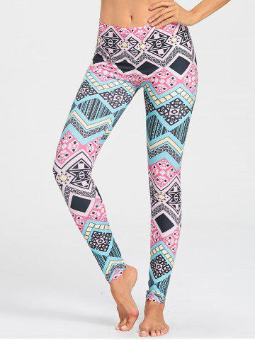 Chic Colored Geometric Pattern Gym Leggings