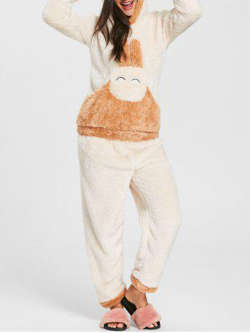 Outfits Bunny Hooded Fuzzy Pajamas Set