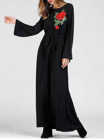 Trendy Floral Embroidered Maxi Dress