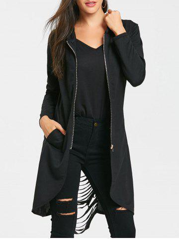 New Tunic Ripped Zip Up Hoodie