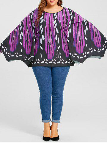 Latest Plus Size Butterfly Graphic Batwing Top
