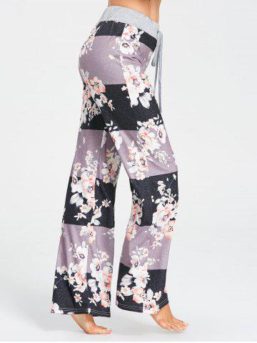 Fancy Flower Pattern Drawstring Waist Pajama Pants