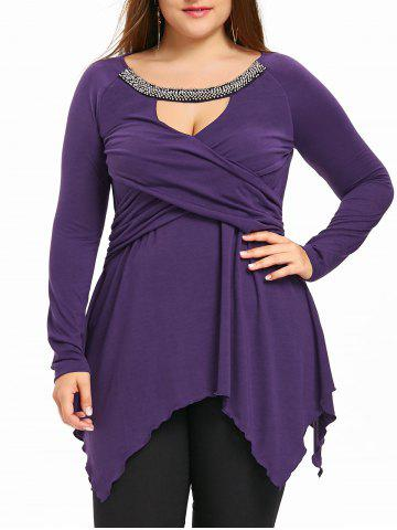 Chic Plus Size Keyhole Neck Beading Handkerchief Top