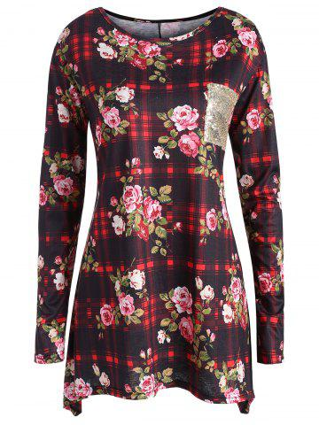 Sale Plus Size Floral Plaid Print  Tunic Top