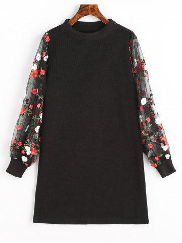 Cheap Mesh Panel Floral Mini Knit Dress