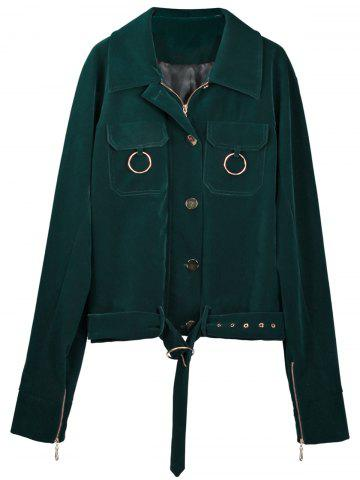 Outfit Zip Up Belted Fleece Jacket