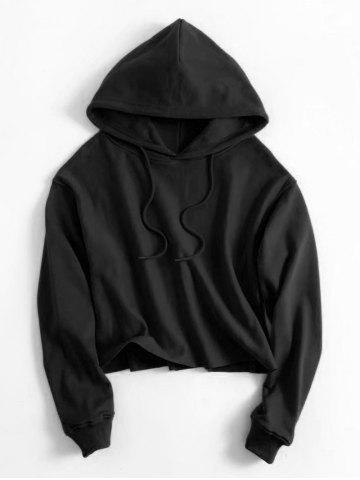 Hot Plain Cropped Drawstring Hoodie