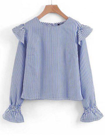 Discount Striped Ruffles Long Sleeve Blouse