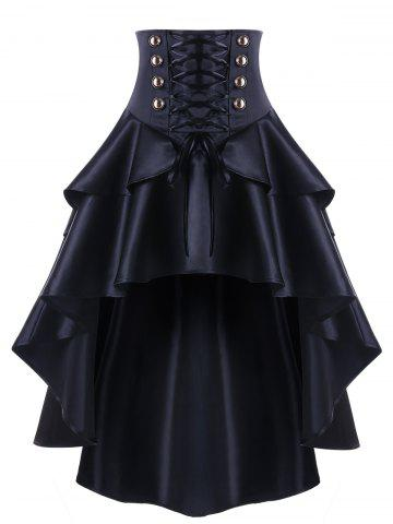 Unique High Waisted High Low Lace Up Skirt