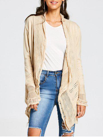 Hot Simple Style Collarless Hollow Out Solid Color Irregular Cardigan For Women