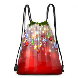 Hanging Ornaments Pattern Christmas Gift Candy Bag Drawstring Backpack -