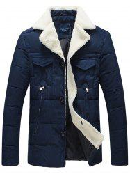 Faux Fur Collar Padded Button Up Jacket -