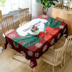 Christmas Bowknot Snowflake Print Fabric Waterproof Table Cloth - Deep Red - W60 Inch * L84 Inch