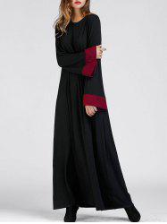 Color Block Bell Sleeve Arabic Maxi Dress -