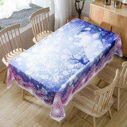 Snowy Christmas Snowman Print Fabric Waterproof Table Cloth -
