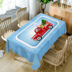 Christmas Car Tree Print Fabric Waterproof Table Cloth -