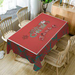Merry Christmas Train Print Fabric Waterproof Table Cloth -