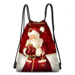 Drawstring Santa Claus Printed Gift Storage Backbag - Red