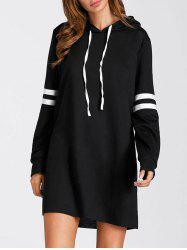 Drawstring Stripe Mini Hoodie Dress -