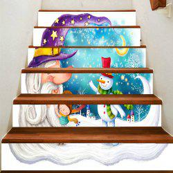Crescent Moon and Snowman Pattern Decoration Stair Decals -
