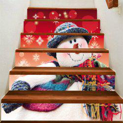 Snowman with Scarf Hat Patterned Stair Stickers -