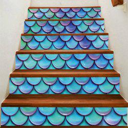 Artistic Fish Scale Printed Decorative Stair Stickers -