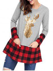 Christmas Plaid Sequin Deer Patterned Tunic Blouse -