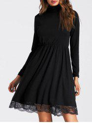 Lace Insert High Neck Mini A Line Dress -