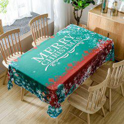 Merry Christmas Greeting Print Fabric Waterproof Table Cloth - Green - W60 Inch * L84 Inch