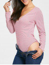 Long Sleeve Plunging Neck Backless Bodysuit -