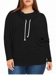 Plus Size  Cowl Neck Drawstring Sweatshirt -