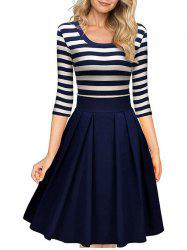 Scoop Neck Striped Fit and Flare Dress -