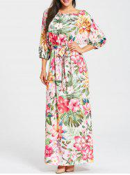 Batwing Sleeve Floral Print Belted Maxi Dress -