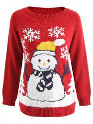 Raglan Sleeve Snowman Graphic Christmas Sweater -