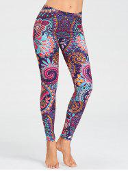 Tribal Floral Pattern Running Leggings -