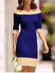 Half Sleeve Two Tone Sheath Dress -
