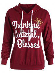 Thanksgiving Letter Print Drop Shoulder Hoodie -
