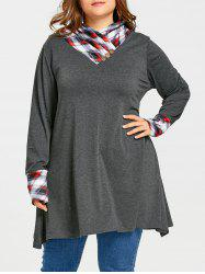 Plaid Panel Heap Collar Plus Size Long Tunic Top -
