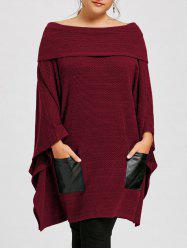Plus Size Off The Shoulder Batwing Sleeve Top -