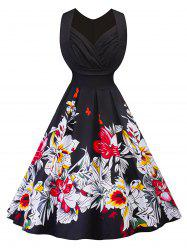 Vintage Ruched Floral Fit and Flare Dress -