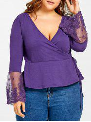 Plus Size Long Sleeve Lace Panel Surplice Top with Ties -