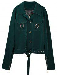 Zip Up Belted Fleece Jacket -