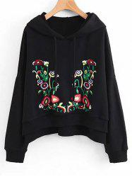Floral Embroidered Side Slit Oversized Hoodie -
