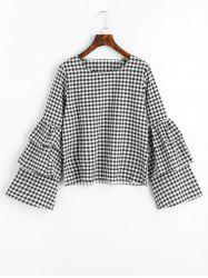 Layered Flare Sleeve Checked Blouse -