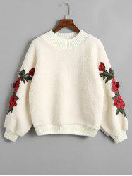 Flower Appliques Ribbed Hem Shearling Sweatshirt -