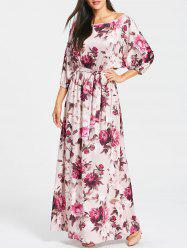 Floral Print Batwing Sleeve Maxi Dress -