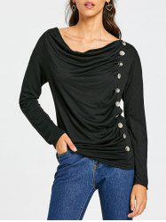 Cowl Neck Long Sleeve Button Embellished Blouse For Women -