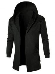 Pockets Hooded Open Front Coat -
